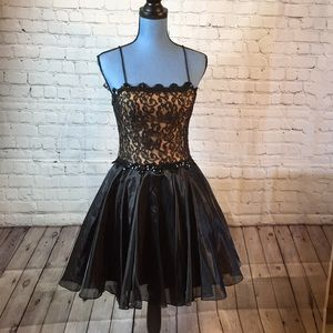 Dresses & Skirts - Black Dress lace sequin Flowing Satiny Skirt